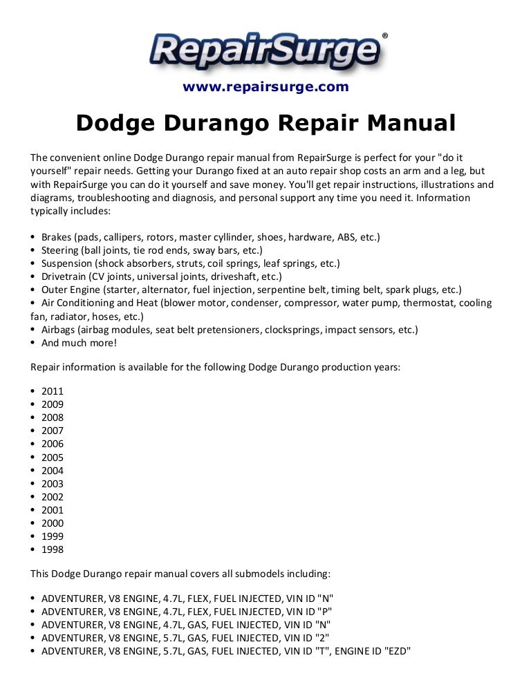 2015 dodge durango service manual for free download